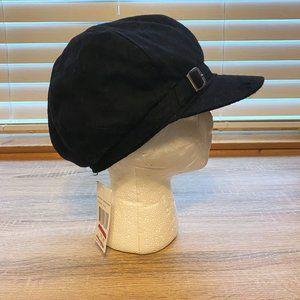 NWT Sz OS Nine West Black Buckle Band Newsboy Hat